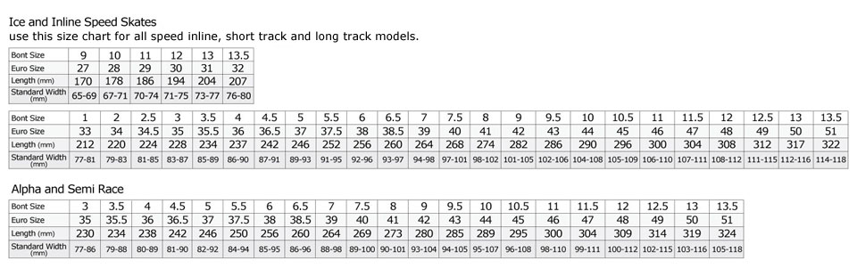 Bont revised 2012 2012 sizing chart rev 2011